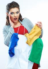 Surprised shopping woman.