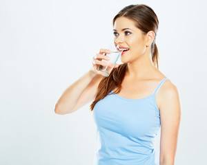 woman drink water with glas