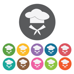 Chef icon. Attaction of italy icon set. Round colourful 12 butto