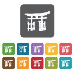 Temple monument icon. Attraction of japanese icon set. Rectangle