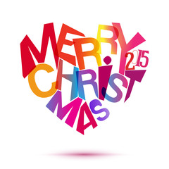Merry christmas colorful typography at heart shape