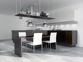 Küche mit weißen Oberschränken und Holzoptik
