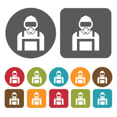 Deep sea diver avatar icon. Set of profession people flat style