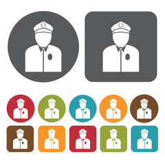 Bus driver avatar icon. Set of profession people flat style icon