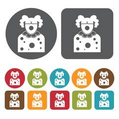 Female clown avatar icon. Set of profession people flat style ic