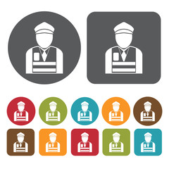 Traffic aid avatar icon. Set of profession people flat style ico