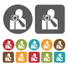 Male photographer avatar icon. Set of profession people flat sty