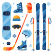 Winter sports equipment icons set in flat design style. - 70791286