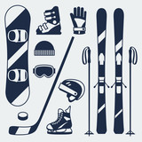 Fototapety Winter sports equipment icons set in flat design style.