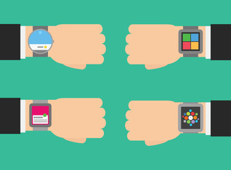 vector set different kinds of smart watch - round, rectangle,