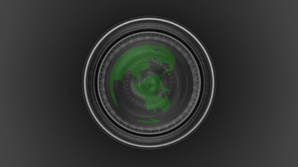 Green planet seen through a camera lens