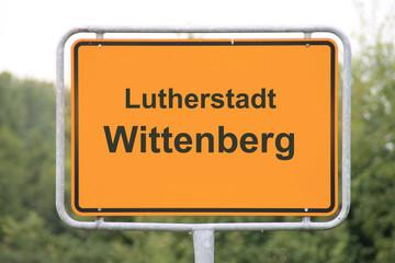 Ein Ortseingangsschild Wittenberg
