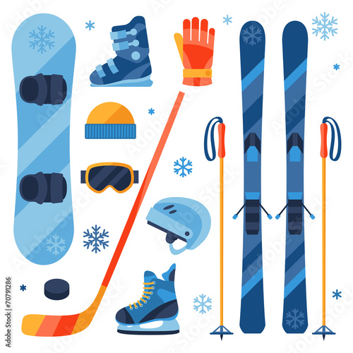 Fototapeta Winter sports equipment icons set in flat design style.