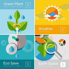 Set of eco nature flat design concepts, banners