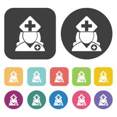 Female nurse with large cap icon. Hospital nurse icons set. Roun