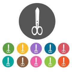 Scissors icon. Sewing equiptment icons set. Round colourful 12 b