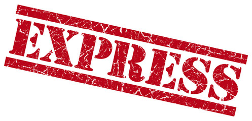 express red grungy stamp isolated on white background
