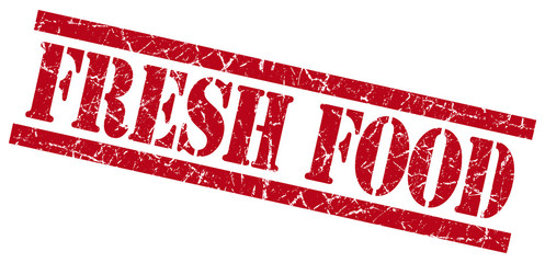 fresh food red grungy stamp isolated on white background