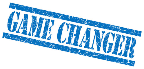 game changer blue grungy stamp isolated on white background