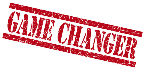 game changer red grungy stamp isolated on white background
