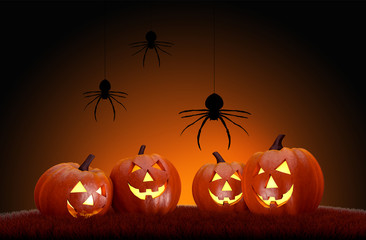 Horror halloween background with pumpkins and spiders