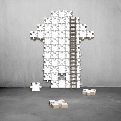 ladder with white puzzles in arrow shape