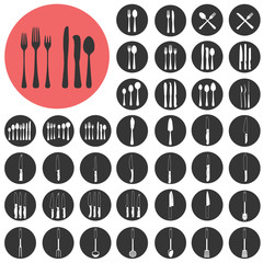 Kitchen Utensils Silhouette icons set. Vector Illustration eps10