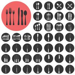 Kitchen Utensils Silhouette icons set. Vector Illustration eps10