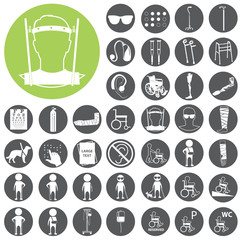 Disabled related vector icons set. Vector Illustration eps10