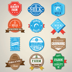 Dairy Farm and Milk Badges Label icons set. Vector Illustration