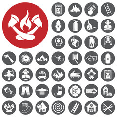 Firefighter related icons set. Vector Illustration eps10