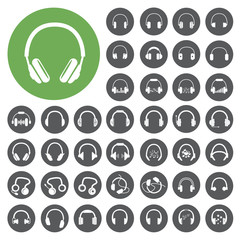 Headphone icons set. Vector Illustration eps10
