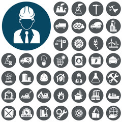 Industry icons set. Vector Illustration eps10