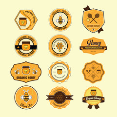 Set of honey and bee labels for honey badges. Vector Illustratio