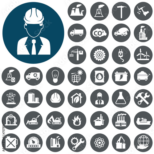 Industry icons set. Vector Illustration eps10 poster