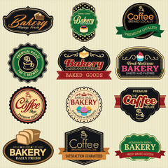 Set of retro coffee and bakery labels, ribbons and cards for vin