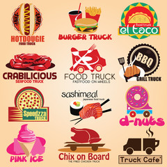 Set of truck colored icons badge labels. Vector Illustration eps