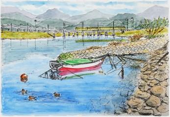 川に浮かぶ舟