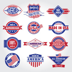 Set of various Made in the USA graphics and labels badge. Vector