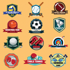 Set of Sports Training Camp badge label vintage. Vector Illustra