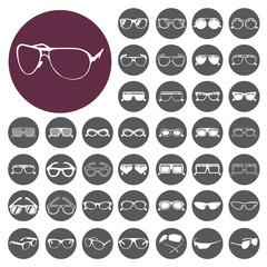 Glasses and sunglasses icon set. Vector Illustration eps10