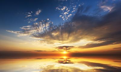 sunrise on the sea.