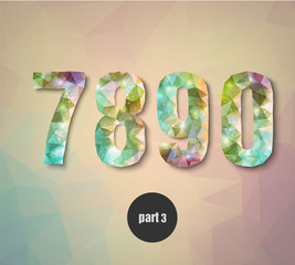 triangular crystal numbers abstract colored