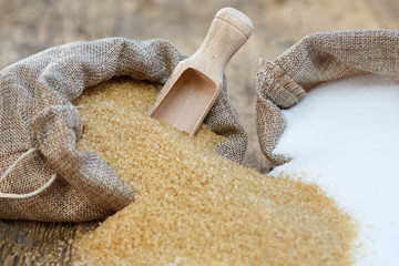 Various types of sugar, brown sugar and white
