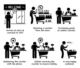 Shopping at Store and Redeeming Online Voucher Cliparts Icons