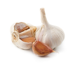 Broken garlic isolated