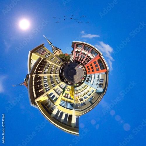 canvas print picture Stuttgart, Marktplatz - little Planet