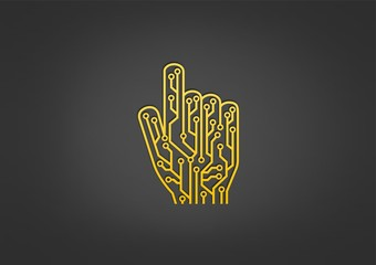 technology finger logo, touch abstract digital icon