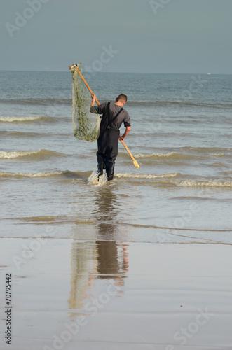 canvas print picture pêche aux crevettes