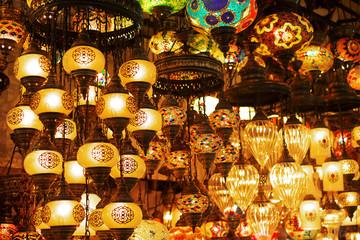 Oriental turkish lanterns at Istanbul market, Turkey